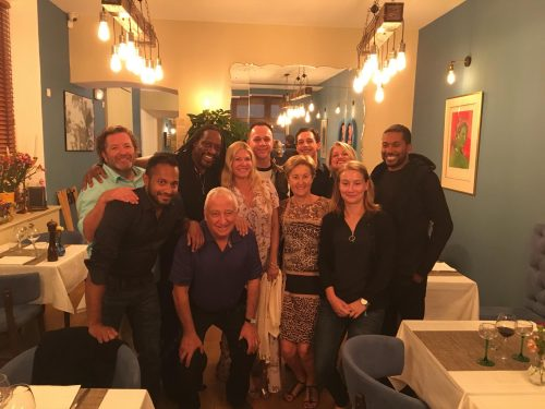 Jenny at dinner with Earth Wind and Fire in Nice, France