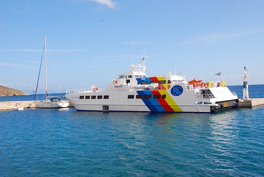 Pinned in by the ferry Tilos Greece
