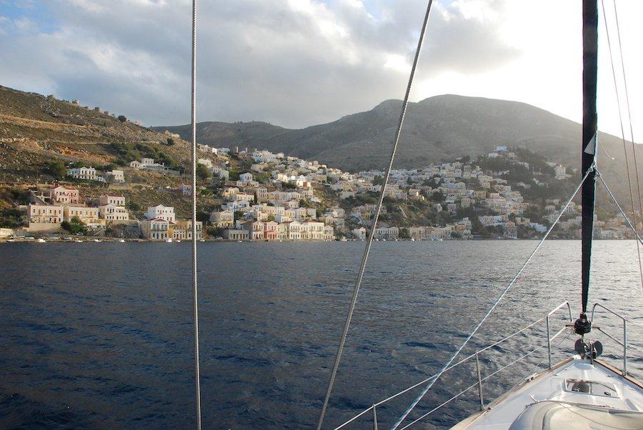 Sailing into Symi Greece